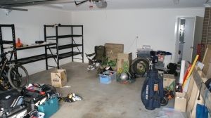 Garage with moving boxes