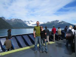Lauren and Adrian on the ferry from Whittier to Valdez