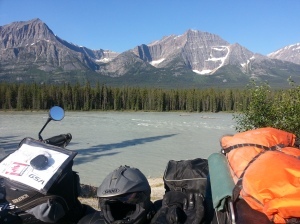 Scenery along Icefields Parkway with motorbike in foreground