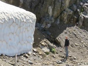 Lauren standing next to a snow floe