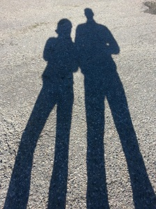 Shadows on the road of Loz and Adie
