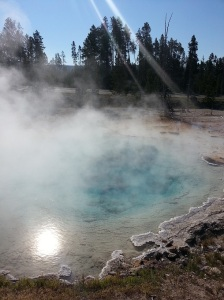 Hot sulphur pools in Yellowstone National Park