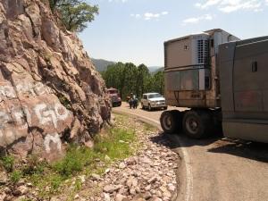 Truck jackknifed on road