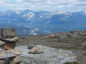 View from the summit of Mt Whistler, Jasper