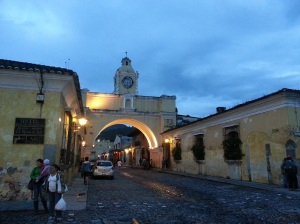 Main arch in Antigua at twilight