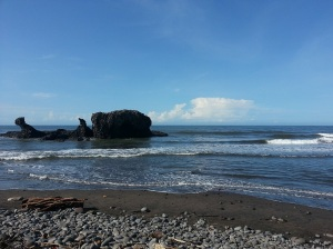 The black sand beach at El Tunco