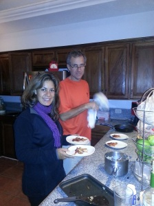 Julio and Luisa cooking up a storm