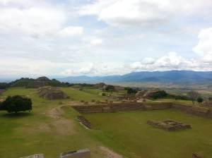 View over sunken ruins at Monte Alban