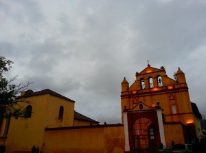 Church in the old town square in San Cristobal de las Casas