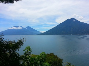View of the volcanoes across Lake Atitlan