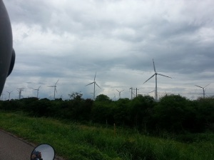 Windmills in a windmill farm along the Panamerican highway