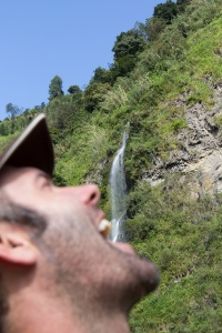 Adrian with one of the many waterfalls we saw today