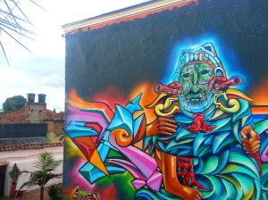 Brightly coloured graffiti in Bogota
