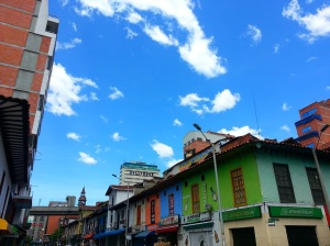 Brightly coloured buildings in Medellin