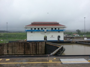 Water basin at the Miraflores Locks on the Panama Canal