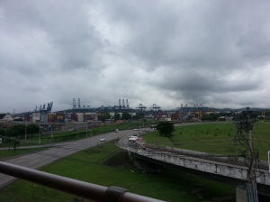 View of cranes and shipping containers in one of the ports along the Panama Canal