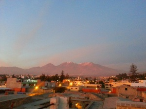 View across the Arequipa skyline to snow-capped mountains