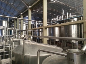 Industrial winemaking... inside a mass producer's factory