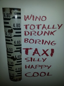 Santiago wine bar art...to help you assess how you're doing!