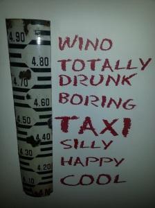 Santiago wine bar art...to help you assess how you're doing!